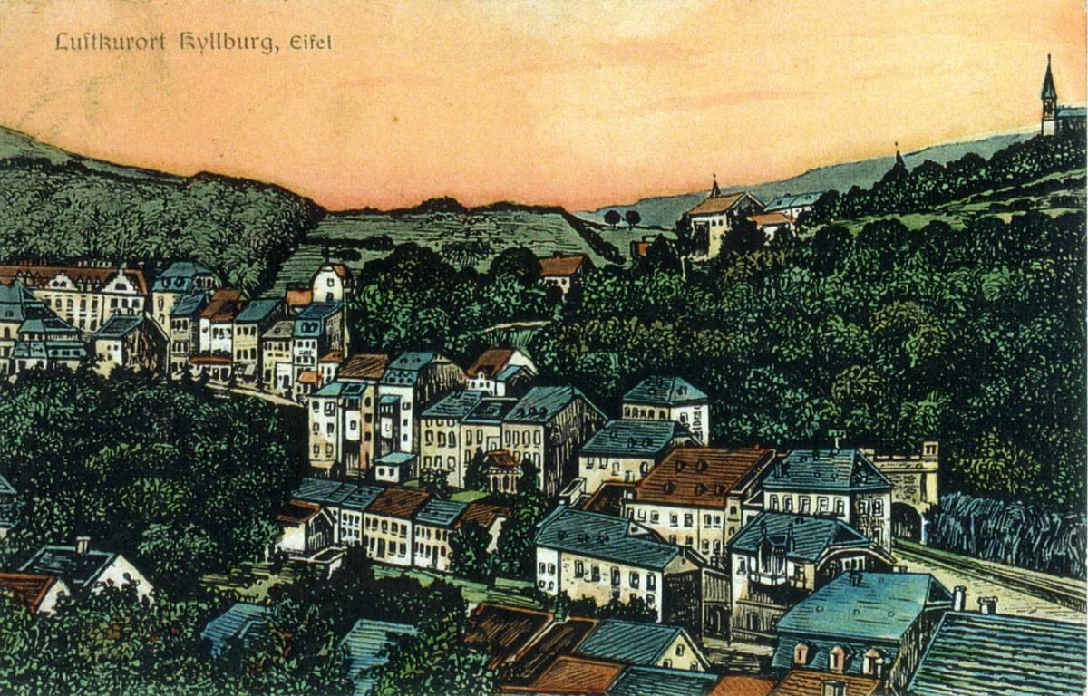 1925-Kyllburg-von-NO-Holzschnitt